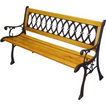 Panchina Eldorado con struttura in ghisa e in legno di eucalipto Papillon