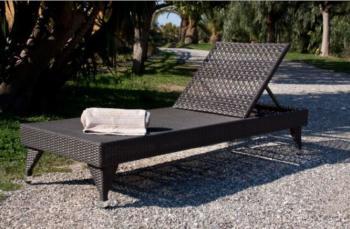 Lettino MOZIA reclinabile per giardino/esterno in polyrattan - Papillon