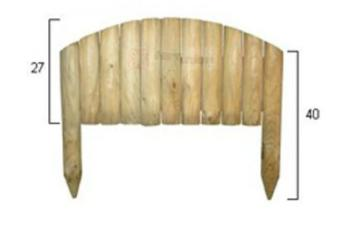 Staccionata in legno ad arco cm 54x3,7 diametro 5 cm