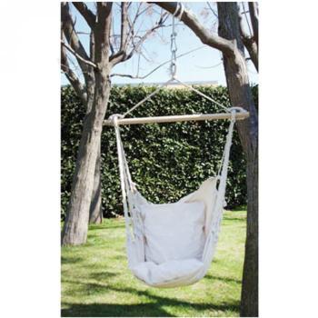 Amaca poltrona in cotone sedia a dondolo sospesa colorazione Naturale