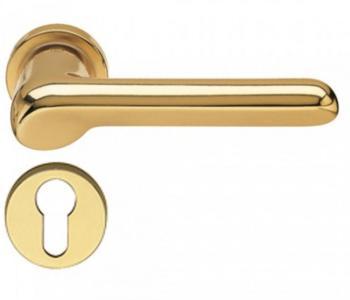 Fusital maniglia per porta H 37 rosetta bocchetta tonda foro yale oro satinato