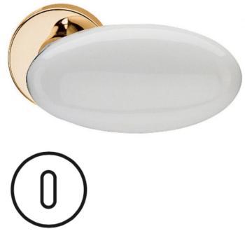 Fusital serie G NOVANTA H 315 maniglia per porta interna rosetta bocchetta foro normale oro + porcellana bianca
