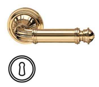 Maniglia per porta interna VALLI & VALLI H 332 SERIE M NOVANTOTTO con rosetta e bocchetta foro normale ORO