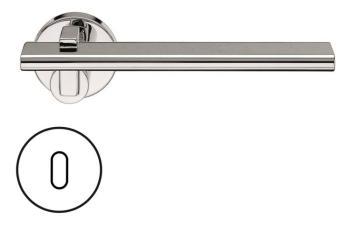 Fusital serie RM NOVANTOTTO H335 Maniglia per porta rosetta e bocchetta foro normale cromo