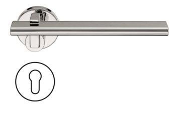 Fusital serie RM NOVANTOTTO H335 Maniglia per porta rosetta e bocchetta foro yale cromo