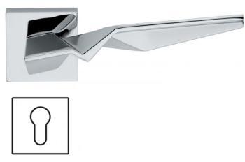 Maniglia per porta Fusital H 356 Serie ZH Duemilacinque con rosetta e bocchetta quadrata foro yale Cromo