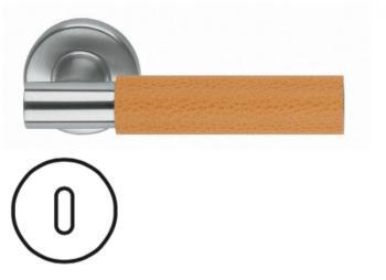 Maniglia per porta Fusital serie K2 H5015 rosetta bocchetta foro normale inox satinato + pelle arancione