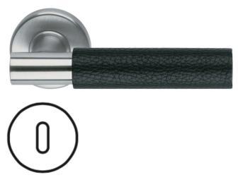 Maniglia per porta Fusital serie K2 H5015 rosetta bocchetta tonda foro normale inox satinato + pelle nera