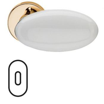 Fusital serie G NOVANTA H 315 maniglia per porta interna rosetta bocchetta ovale foro normale oro + porcellana bianca