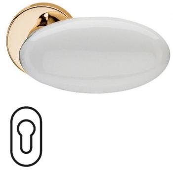 Fusital serie G NOVANTA H 315 maniglia per porta interna rosetta bocchetta foro yale oro + porcellana bianca