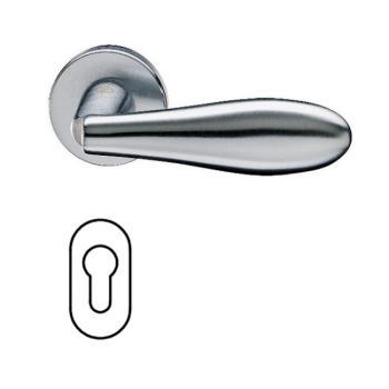 Maniglia per porta Fusital serie AC NOVANTUNO H317 rosetta bocchetta ovale foro Yale Cromo satinato