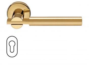 Fusital serie RB NOVANTACINQUE H 329 maniglia rosetta bocchetta foro yale Oro/Oro satinato