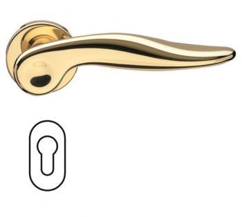 Fusital serie NF NOVANTOTTO h334 r8 Maniglia per porta interna rosetta bocchetta ovale per cilindro oro lucido