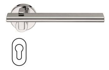 Fusital serie RM NOVANTOTTO H335 Maniglia per porta rosetta e bocchetta ovale foro yale Cromo