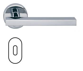 Fusital serie JP DUEMILA H343 Maniglia per porta rosetta bocchetta ovale foro normale cromo