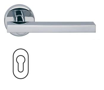 Fusital serie JP DUEMILA H343 Maniglia per porta rosetta bocchetta ovale foro yale cromo