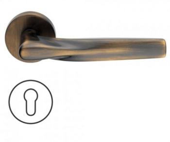 Maniglia per porte serie H 359 SOM New York DUEMILASETTE con rosetta bocchetta tonda foro yale bronzo satinato