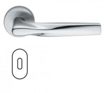 Maniglia per porte serie H 359 SOM New York DUEMILASETTE con rosetta bocchetta ovale foro normale cromo satinato