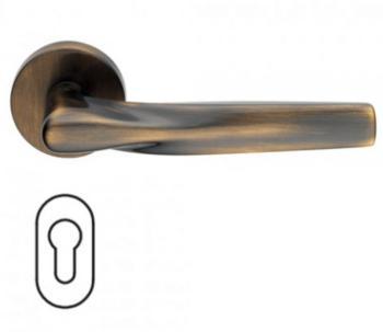 Maniglia per porte serie H 359 SOM New York DUEMILASETTE con rosetta bocchetta ovale foro yale bronzato