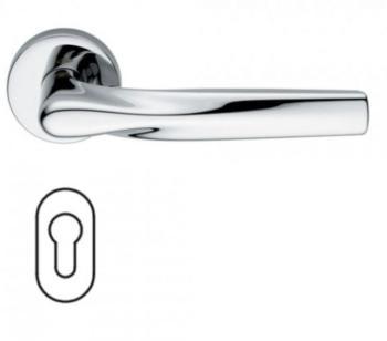 Maniglia per porte serie H 359 SOM New York DUEMILASETTE con rosetta bocchetta ovale foro yale cromo lucido