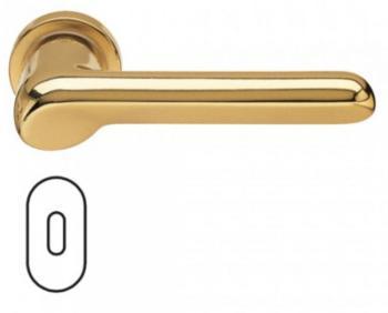 Fusital maniglia per porta H 37 rosetta bocchetta ovale foro normale oro satinato