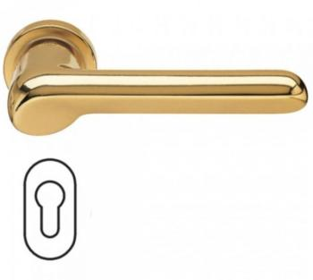 Fusital maniglia per porta H 37 rosetta bocchetta ovale foro yale oro satinato