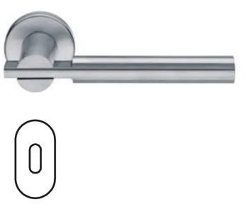 Maniglia per porta Fusital serie Himalaya H 5008 rosetta bocchetta ovale foro normale inox satinato