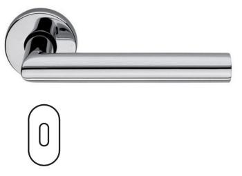 Maniglia per porta Fusital H5014 Serie Bernina con rosetta e bocchetta ovale foro normale Inox Lucido