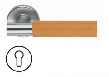 Maniglia per porta Fusital serie K2 H5015 rosetta bocchetta foro Yale normale Inox Satinato + pelle arancione