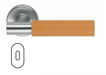 Maniglia per porta Fusital serie K2 H5015 rosetta bocchetta foro ovale normale inox satinato + pelle arancione