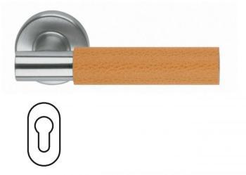 Maniglia per porta Fusital serie K2 H5015 rosetta bocchetta foro ovale yale Inox Satinato + pelle arancione