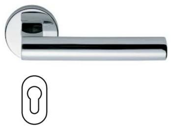 Maniglia per porta Fusital serie Gottardo H 5017 rosetta bocchetta ovale foro yale cromo lucido