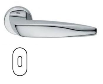 Maniglia per porta Fusital serie Arrowhead H 5021 rosetta bocchetta ovale foro normale cromo lucido