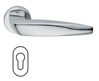 Maniglia per porta Fusital serie Arrowhead H 5021 rosetta bocchetta ovale foro yale cromo lucido