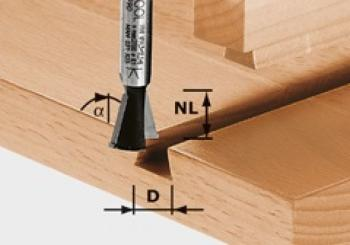 Festool Fresa e coda di rondine HW gambo 8 mm HW S8 D14,3/13,5/15°