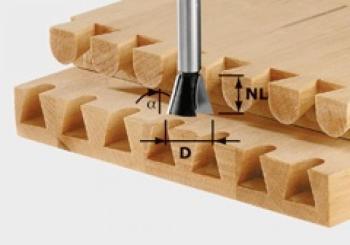 Festool Fresa a coda di rondine HS gambo 8 mm HS S8 D14,3/13,5/15°