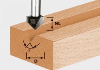 Festool Fresa per scanalature a V - HS gambo 8 mm HS S8 D14/7/90°