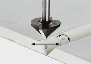 Festool Fresa per cartongesso HW gambo 8 mm HW S8 D12,5/45°