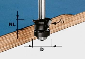 Festool Fresa per rifilare gambo 8mm HW S8 D24/0° +45°