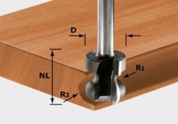 Festool Fresa per impugnature HW gambo 8 mm HW S8 D22/16/R2,5+6