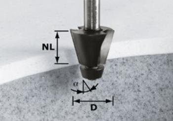 Festool Fresa a smussare HW gambo 12 mm HW D33,54/15° ss S12