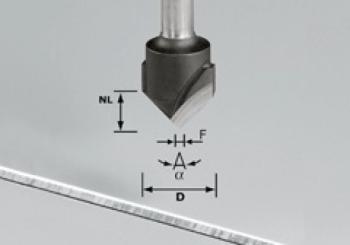 Festool Fresa per scanalature a V - HW gambo 8 mm HW S8 D18-90° (Alu)