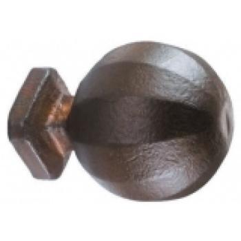 Pomolo massiccio in ferro per porta Galbusera con rosetta finitura Nero Antico