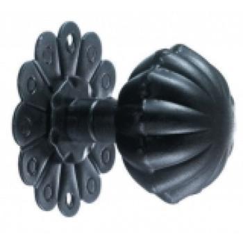 Pomolo girevole in ferro per porta Galbusera con rosetta finitura Nero Antico con molla
