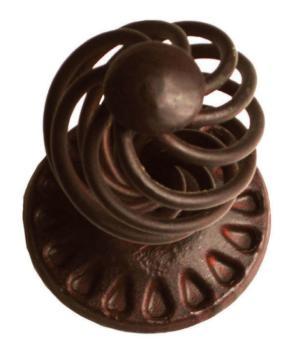 Pomolo fisso in ferro per porta Galbusera con rosetta finitura Nero Antico