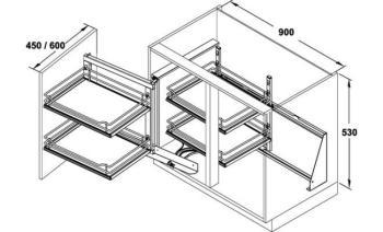 Telaio WaCo meccanismo estraibile per mobili base ad angolo - funzionamento Sinistro