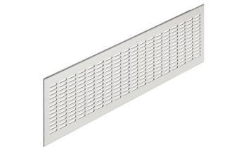 Griglia rettangolare da incasso in alluminio anodizzato mm 480 x 80 argento