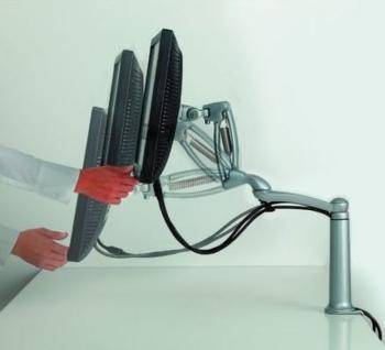 Braccio orientabile lungo Ellipta con regolazione in altezza per schermo 5 - 7,5 kg