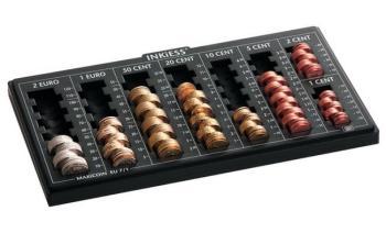 Cassetto portadenaro Vassoio passa denaro Euro 330 x 185 x 50 mm Plastica Nero