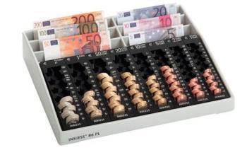 Cassa per monete ufficio e negozi Euro 50x305x70 mm Plastica